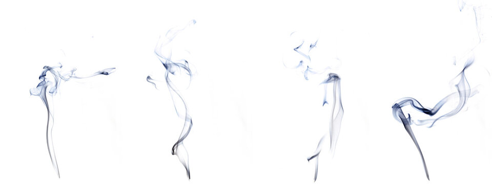 Isolated steam set. Blur steam mist cloud, abstract fog or black smoke group isolated on white background. Abstract of steam with copy space.