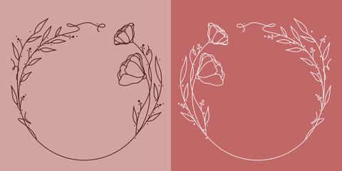 Fototapeta Szablony ramek z wzorem roślinnym w prostym nowoczesnym stylu z listkami i kwiatami - romantyczny, kobiecy wzór na zaproszenia ślubne, życzenia, kartki, tło dla social media stories. obraz