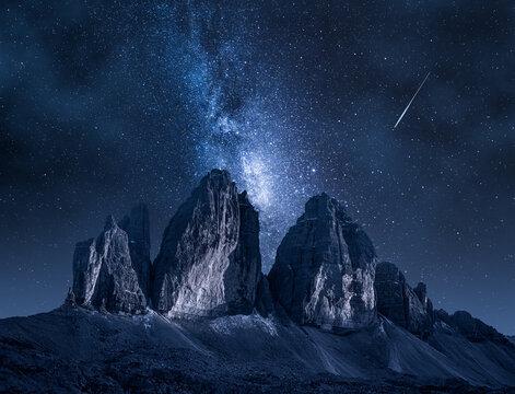 Milky way over Dreizinnen hut in Tre Cime, Dolomites, Italy