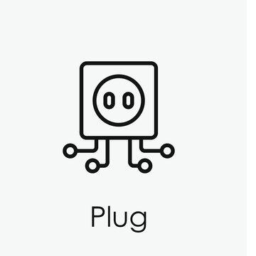 Plug vector icon. Editable stroke. Symbol in Line Art Style for Design, Presentation, Website or Apps Elements, Logo. Pixel vector graphics - Vector
