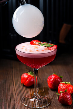 flavor blaster strawberry margarita cocktail with a smoky air bubble