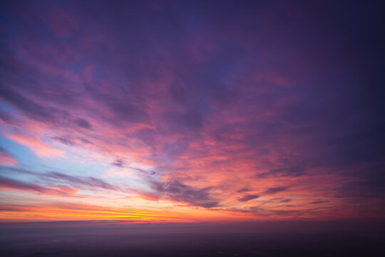 紫色に色づく空, 夜明け前, 夜明け, 暁, 薄明
