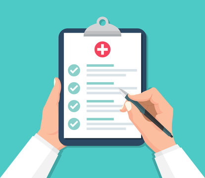 Doctor hands holding clipboard with checklist for medical report in a flat design