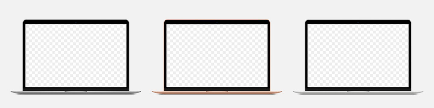 Set of different realistic laptop with blank screen on a transparent background