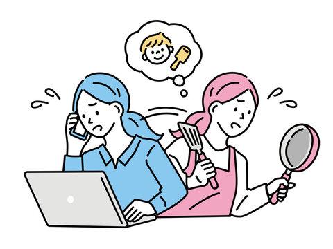 両立、仕事をする女性のイラスト(忙しい、共働き、子育て、家事、育児、家族) Compatible, illustration of working women . busy, double-income, parenting, housework, parenting, family