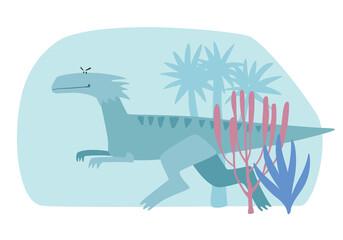 Gray cartoon cute dinosaur running through primeval forest. Vector graphics
