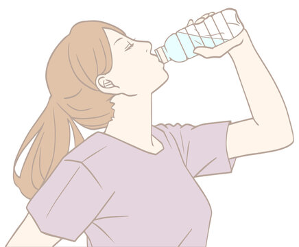水分補給する女性(パステルカラー)