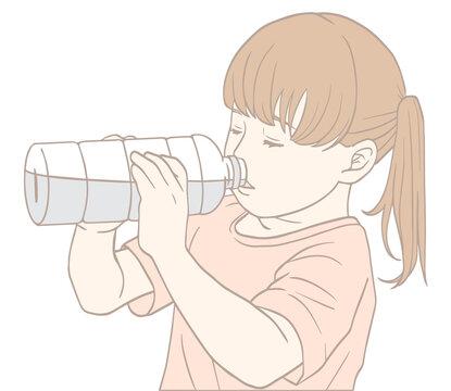 水分補給する子ども(パステルカラー)