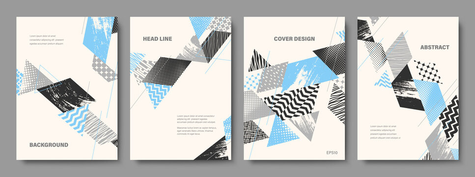 Set of Geometric Backgrounds. Collage Style Cover Design Templates. Vector Illustration.
