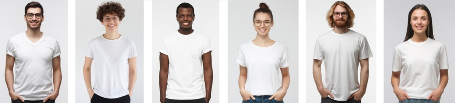 Young people in white t-shirt. Collage of many men and women wearing blank tshirt with copy space for your logo