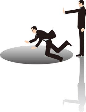 ライバルを不意打ちで穴に突き落とすビジネスマンのイメージ