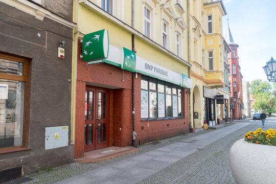 Swiebodzin, Poland - June 1, 2021: Branch of the brand BNP Paribas bank.