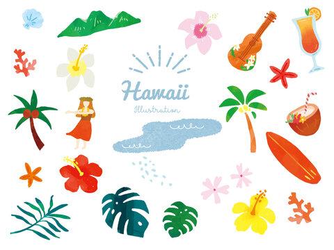 オシャレで可愛い夏モチーフのイラスト(手書き、トロピカル、アロハ、ハワイ、ファッション、旅行、フラダンス、ウクレレ) Fashionable and cute summer motif illustrations. handwritten, tropical, aloha, Hawaii, fashion, travel, hula dance, ukulele