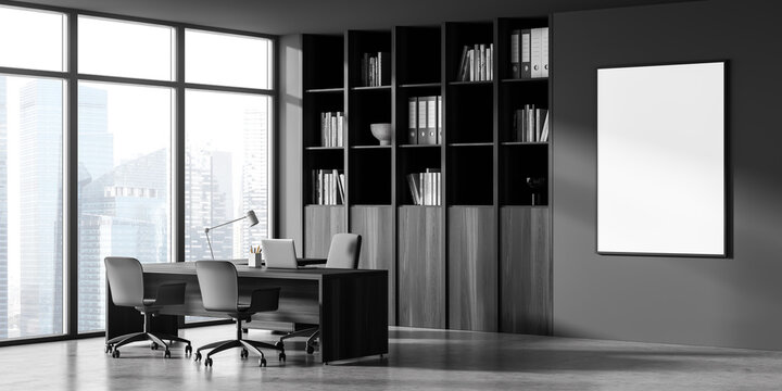 Poster and corner of panoramic dark grey office with cabinet, desk