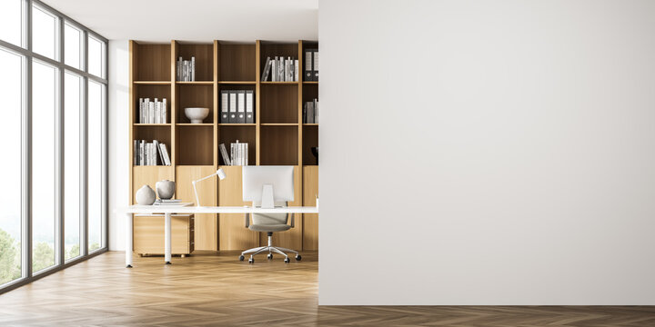 Panoramic office area with empty wall, beige