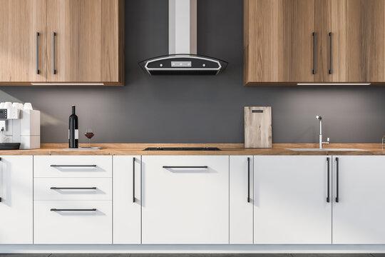 Wooden half white kitchen cabinet