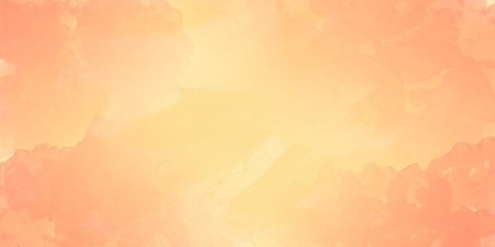 Watercolor abstract yellow peach  background with peach color