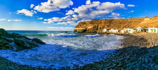 Beautiful nature and sea of Fuerteventura island. Traditional fishing village Puertito de los Molinos. Canary islands