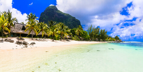 Dream island. tropical paradise. Best beaches of Mauritius island, luxury resorts of Le Morne