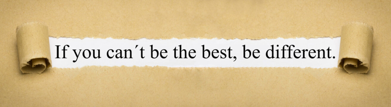 If you can´t be the best, be different.