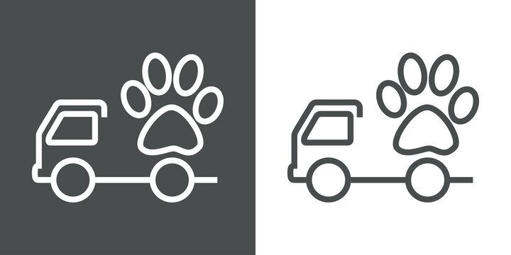 Transporte de comida para mascotas. Logotipo camión de reparto con huella de gato con lineas en fondo gris y fondo blanco
