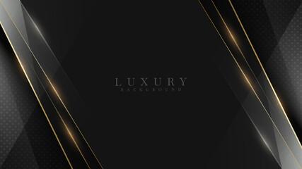 Fototapeta Black luxury background along with golden line, technology minimal scene concept, empty space for text. 3d Vector illustration. obraz