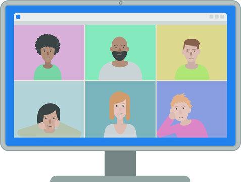 Online webinar screen with 6 people on display