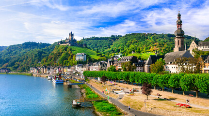 Travel in Germany - river cruises in Moselle river, medieval Cochem town popular tourist destination