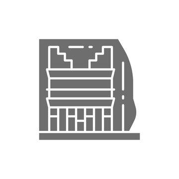 Madain Saleh, landmark of Al-Hejaz, Saudi Arabia gray icon.