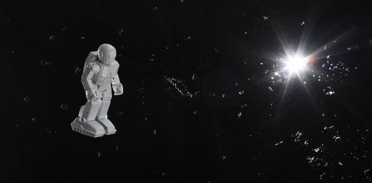 toy astronaut on a black sky