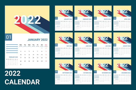 vector of calendar 2022.2022 wall calender with retro design. calendar template with sunday as weekend and week start on monday. set of 12 month template. good for planner, daily log, schedule, etc.