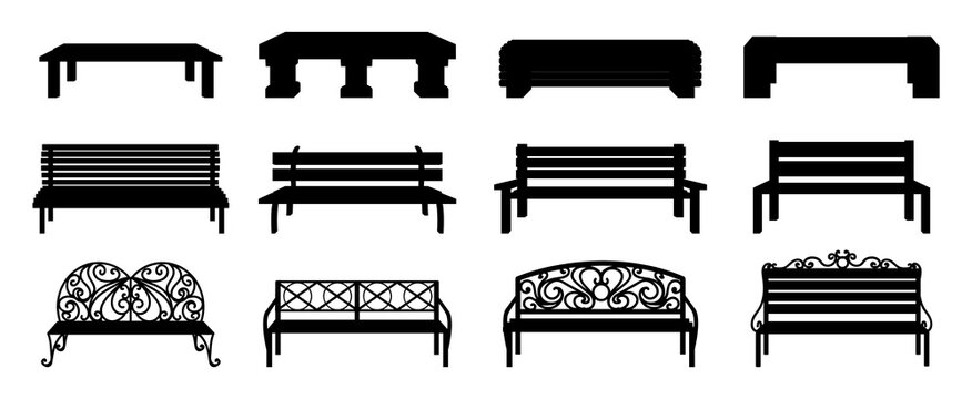 Bench silhouette. Black wooden and wicker street chair. Isolated park recreation furniture collection. Outdoor seat with decorative metal back. Landscape elements. Vector sitting icons set