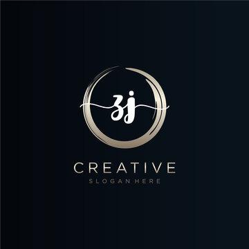 ZJ initial handwriting logo template vector.