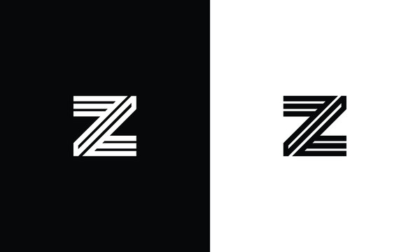 Initial Z ZZ ZZZ Logo Design with black and white Background Vector Illustration