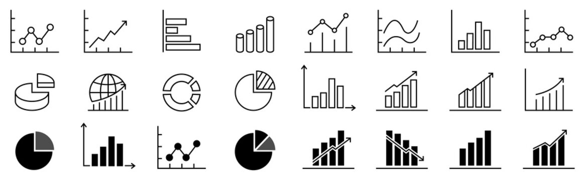 A set of charts and graphs related vector icons for your design. Graphics and statistics icons set. Collection of simple linear web icons, line charts, candlesticks, combined, bar charts, pie charts