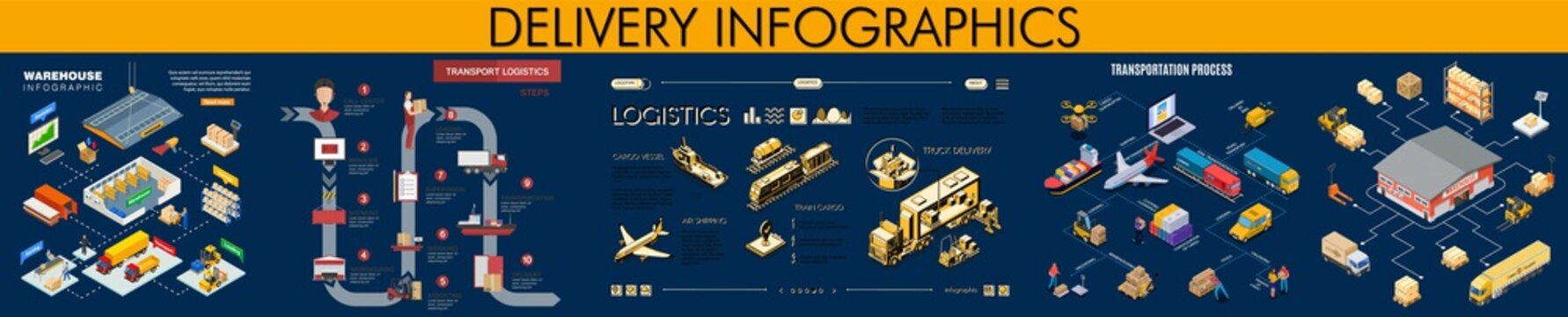 Delivery Infographics Set. Warehouse Infographics. Transportation Process.