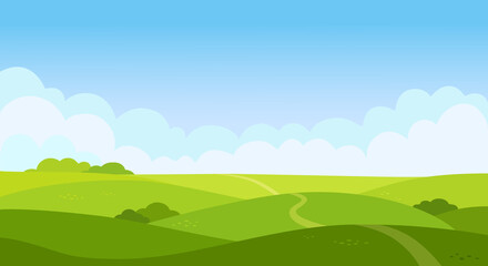 Valley landscape in flat style. Cartoon meadow landscape with grass. Blue sky with white clouds. Empty green field with trees and road. Summer day. Green hills background, empty glade template. Vector