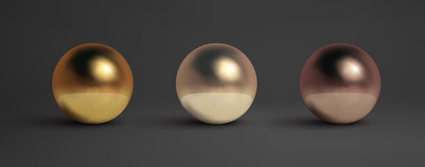 Obraz Abstract metal balls set. Pearl, black metal,brass,silver. Vector golden sphere isolated object on black. Chrome sphere silver metal ball. - fototapety do salonu