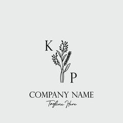 Obraz Botanical Initial Logo Design Template Letter KP - fototapety do salonu
