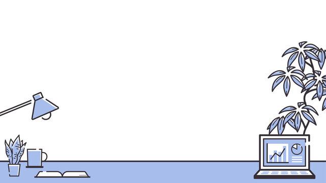 シンプルな線のパソコンと観葉植物のフレーム_グラフ_16:9