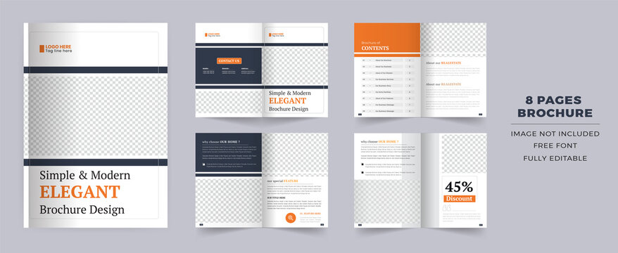8 pages Corporate brochure template layout design. It's also compatible with bifold, catalog, booklet, profile, annual report and fully editable.