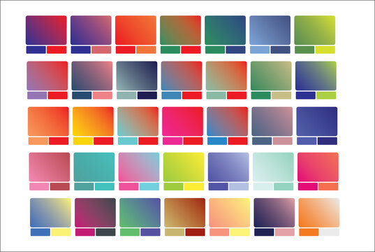 Vivid gradient rectangle . Minimalist multicolor square, abstract vibrant colors and modern gradients rectangle isolated vector set with color swatch