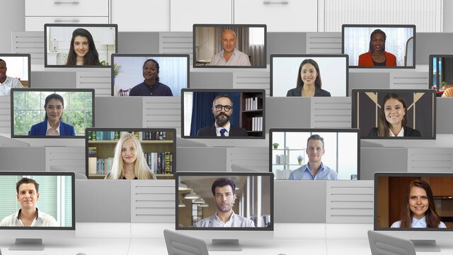 Portrait of multi ethnic group of business people working from home and office with remote computer, talking to colleagues in webcam group video call conference technology on screen online.Nationality
