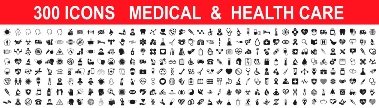 Set 300 Medicine and Health care flat icons. Collection health care medical sign icons – stock vector