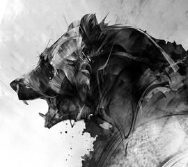 Obraz painted portrait of a beast bear in monochrome - fototapety do salonu