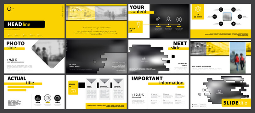 Business presentation template, yellow and black infographic elements set on white background. Walking people in the city. Vector slide, business project powerpoint, and marketing. Annual report, SEO