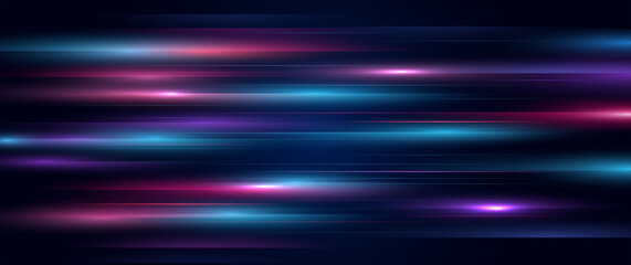 Fototapeta Modern abstract speed line movement. Colorful dynamic motion on blue background. Movement technology pattern for banner or poster design background concept. obraz