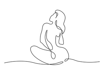 Sketch of naked woman sitting. One line drawing