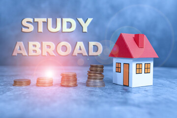 Conceptual caption Study Abroad. Concept meaning Pursuing educational opportunities in a foreign...