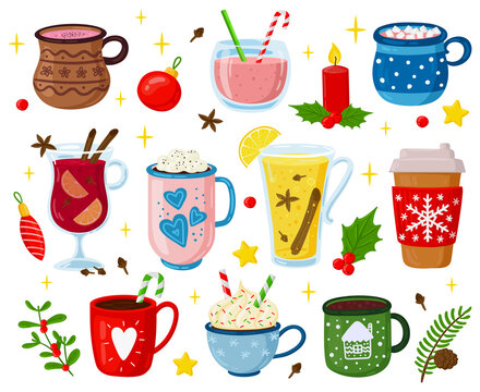 Christmas drinks. Holiday sweet beverages, cocktails, punch, coffee, hot cocoa with marshmallows and whipped cream vector illustration set. Xmas party drinks